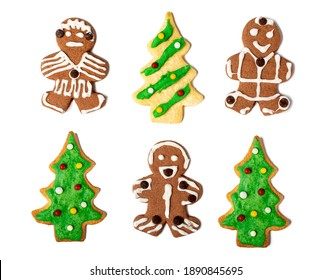 Homemade Christmas gingerbread on white background, top view.