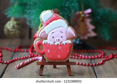 Homemade christmas gingerbreads painted as a pig on the wooden background with fir branches. Selective focus and place for text.