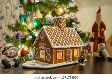 Homemade Christmas and New Year's Gingerbread House, Moscow, Russia, December 2018