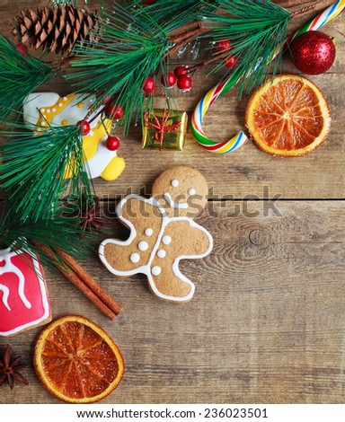Homemade Christmas Painted Gingerbreads Gingerbread Man Stock Photo