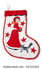 Homemade christmas sock with a snow-princess with stitch cat, shawl and red star on a white background.