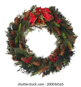 Homemade Christmas Wreath on white background