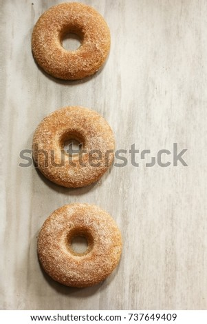 Homemade Cinnamon sugar Donuts with copy space