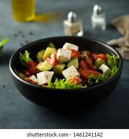 Homemade classic Greek salad in bowl
