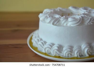Homemade coconut cake with cream