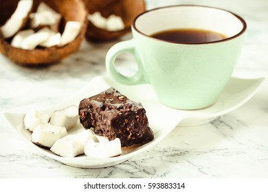 homemade coconut candy bars bounty, raw vegan dessert, healthy lifestyle concept