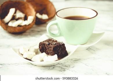 homemade coconut candy bars bounty, raw vegan dessert, healthy lifestyle concept, tone