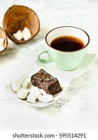 homemade coconut candy bars bounty, vegan healthy dessert, raw food concept