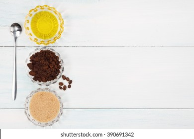 Homemade coffee scrub with grapeseed oil and sugar