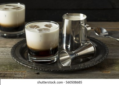 Homemade Coffee White Russian with Cream and Vodka