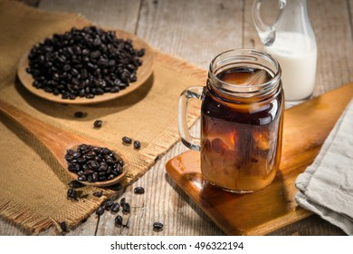 Homemade cold brew ice coffee with cream delicious beautiful decoration lifestyle jar