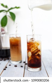 homemade cold brew iced coffee with milk summer beverage