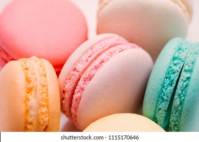 Homemade Colorful macaroons or macaron on White plate