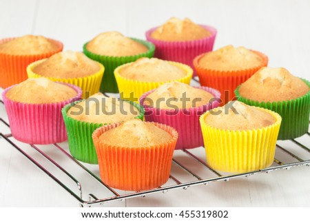 Homemade Colorful Plain Cupcakes On Stand Stock Photo Edit Now