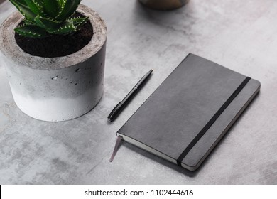 Homemade concrete pot with succulent and notebook on marble background - Shutterstock ID 1102444616