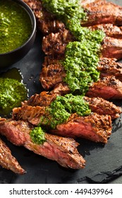 Homemade Cooked Skirt Steak with Chimichurri Sauce and Spices
