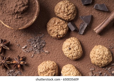Homemade cookies, chocolate and cocoa