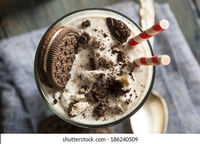 Homemade Cookies and Cream Milkshake in a Tall Glass