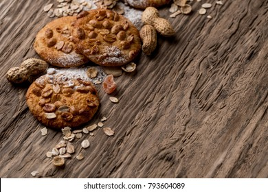 Homemade cookies dessert. Chocolate chip, oatmeal raisin, dough and nuts copy text menu background.