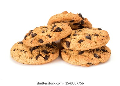 Homemade cookies. Five sweet cookies with chocolate chips. Tasty biscuit in high resolution close up, isolated on white background with small shadows. Homemade bakery.