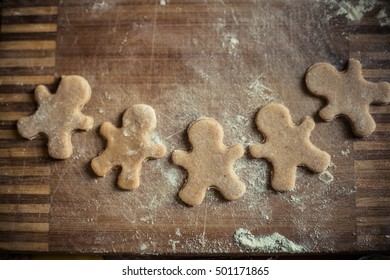 homemade cookies gingerbread men. natural products, form cutting