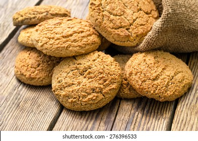 Homemade  cookies on old wooden background