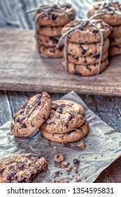 Homemade cookies on wooden table in the kitchen