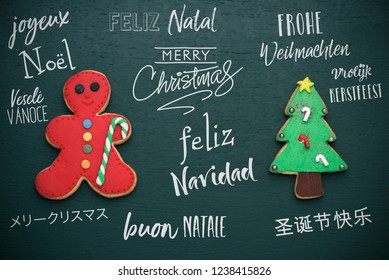 homemade cookies in the shape of a candy cane and a christmas tree, and the text merry christmas in different languages, such as german, czech, japanese, spanish, italian, chinese, portuguese or dutch