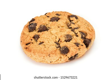Homemade cookies. Sweet cookie with chocolate chips. Tasty biscuit in high resolution close up, isolated on white background with small shadows. Homemade bakery.