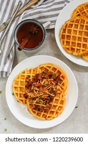 Homemade Cornbread Waffles served with Chili / Thanksgiving breakfast