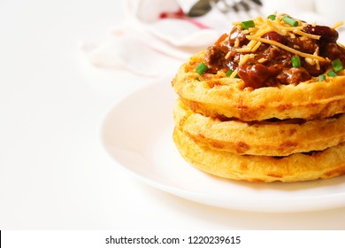 Homemade Cornmeal Waffles with Chili beef / Thanksgiving breakfast on white background