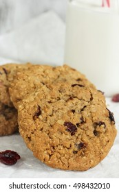 Homemade Cranberry cookies with a bottle of milk on side, selective focus
