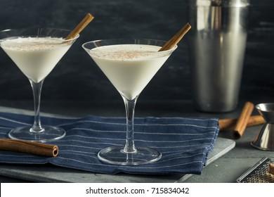 Homemade Creamy Eggnog Cinnamon Dessert Martini with Nutmeg