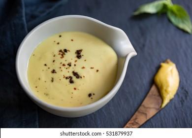 Homemade Creamy Honey Mustard dressing in a bowl