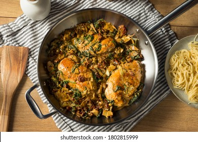 Homemade Creamy Italian Tuscan Chicken with Spinach and Pasta