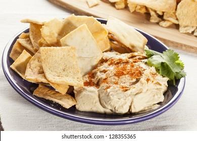 Homemade Crunchy Pita Chips with Organic Hummus