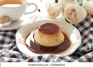 Homemade custard pudding with caremel sauce