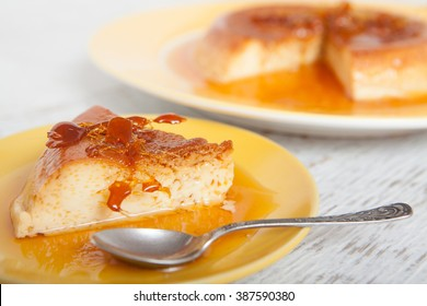 Homemade custard pudding served with caramel