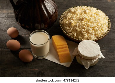 homemade dairy and eggs on the table