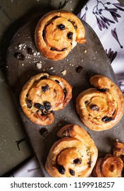 Homemade Danish pastry raisin buns food photography recipe