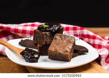 Homemade Dark Chocolate Brownies Topping Almond Stock Photo (Edit