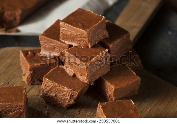 Homemade Dark Chocolate Fudge Ready to Eat