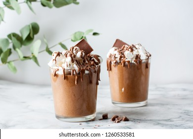 Homemade Dark Chocolate Mousse and melted chocolate