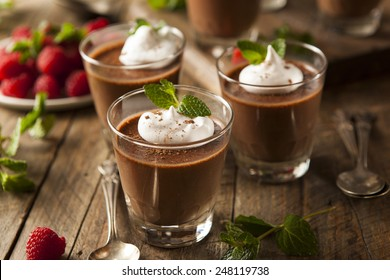 Homemade Dark Chocolate Mousse with Whipped Cream
