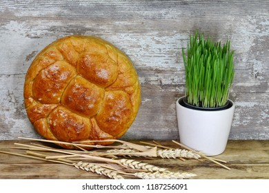 Homemade decorated Serbian slava bread