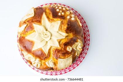 Homemade decorated Serbian slava bread cake