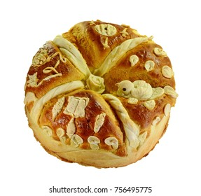 Homemade decorated Serbian slava bread isolated on white.