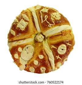 Homemade decorated Serbian slava bread isolated on white. top view.