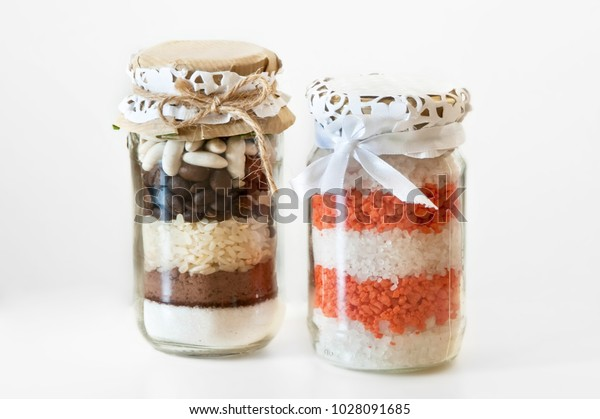 Homemade Decoration Glass Jars Filled Colorful Stock Image