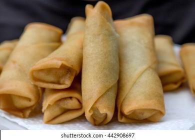 homemade deep fried spring rolls